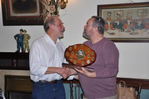 Geoff Greenham receiving the POTY award for 2013 & the congratulations of then chair, Nicholas Cooper